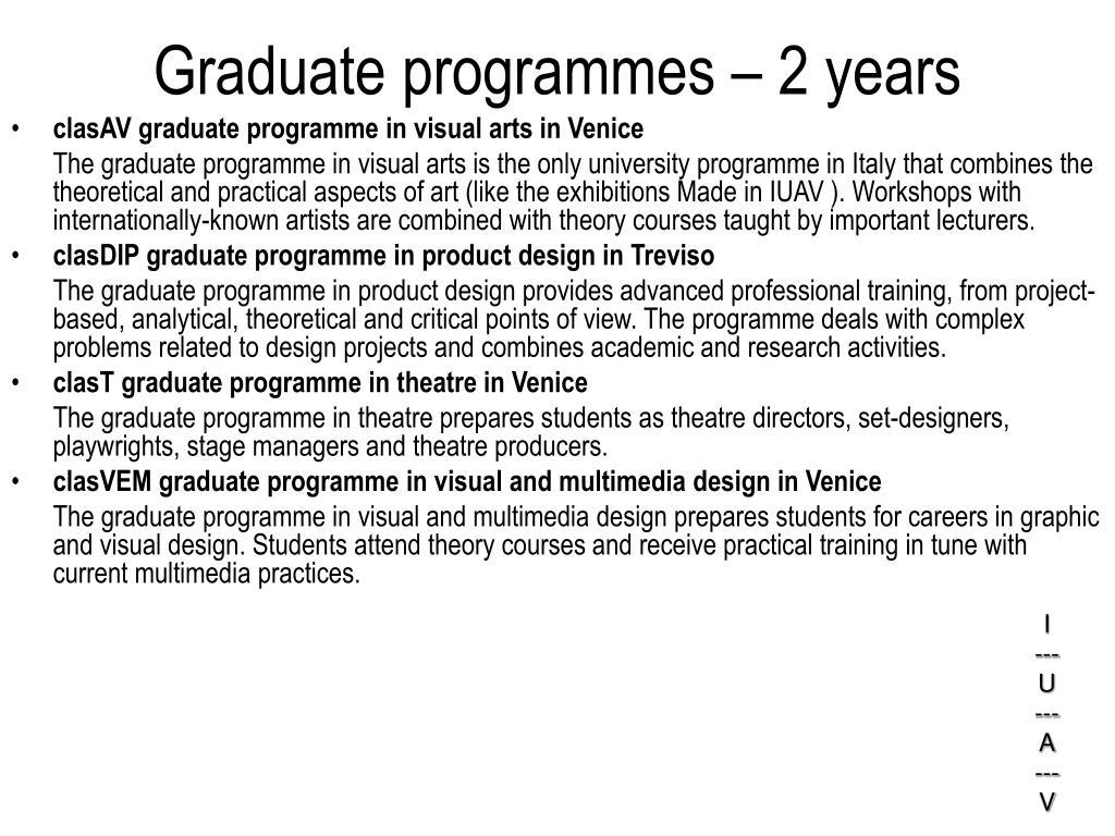 Graduate programmes – 2 years