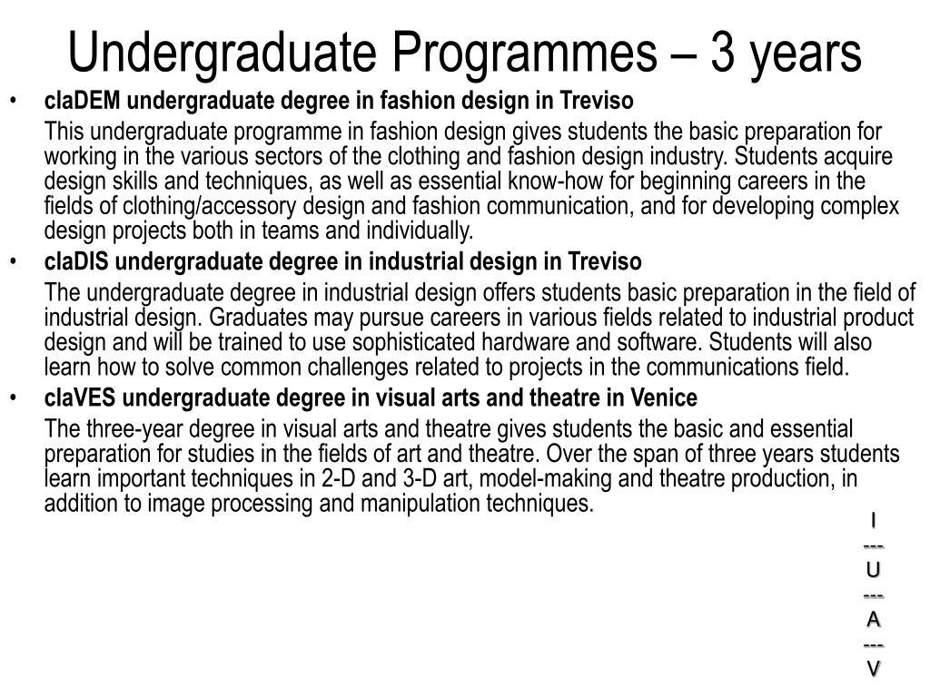 Undergraduate Programmes – 3 years