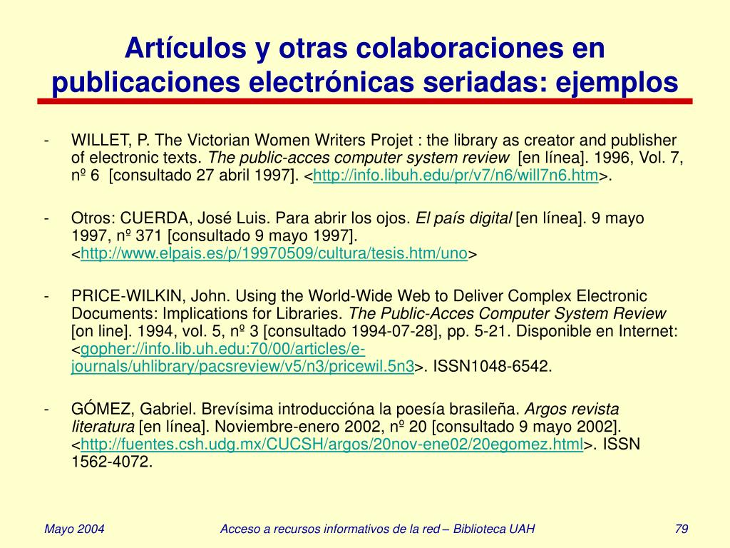 Artículos y otras colaboraciones en publicaciones electrónicas seriadas: ejemplos