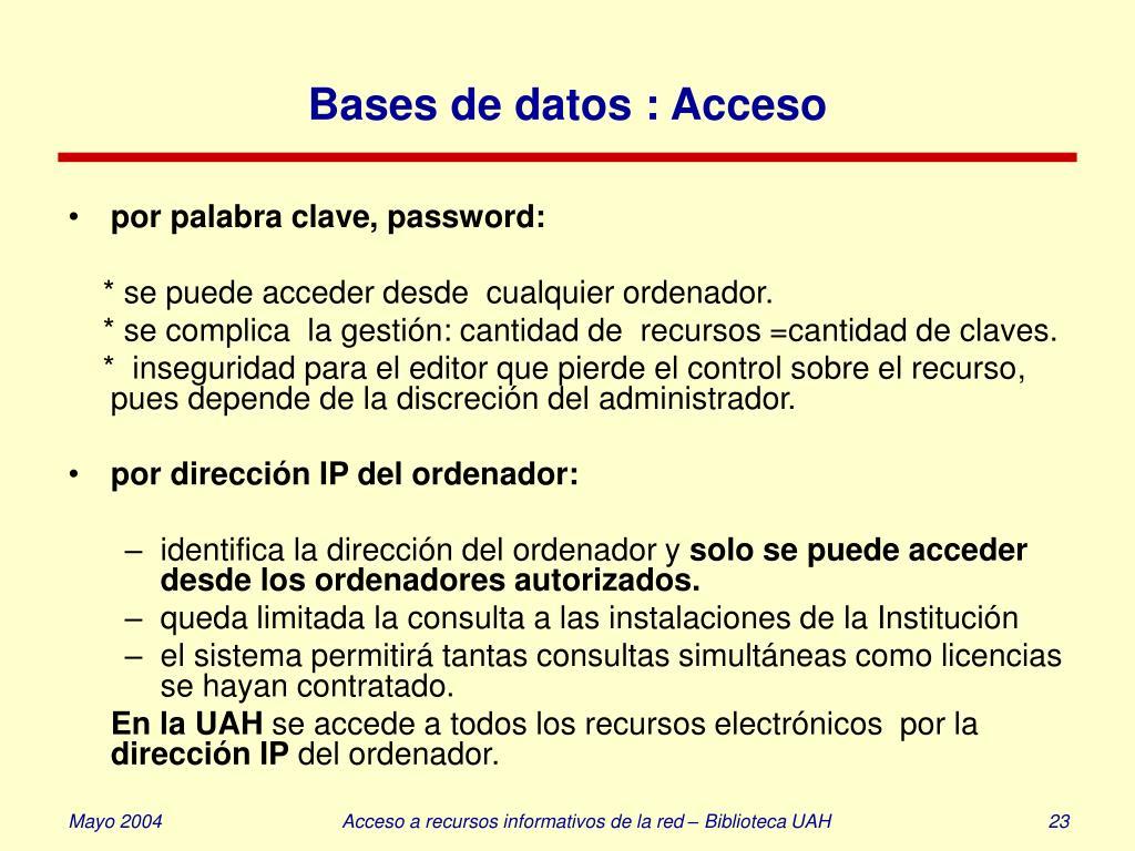 Bases de datos : Acceso