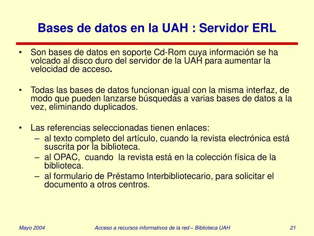 Bases de datos en la UAH : Servidor ERL