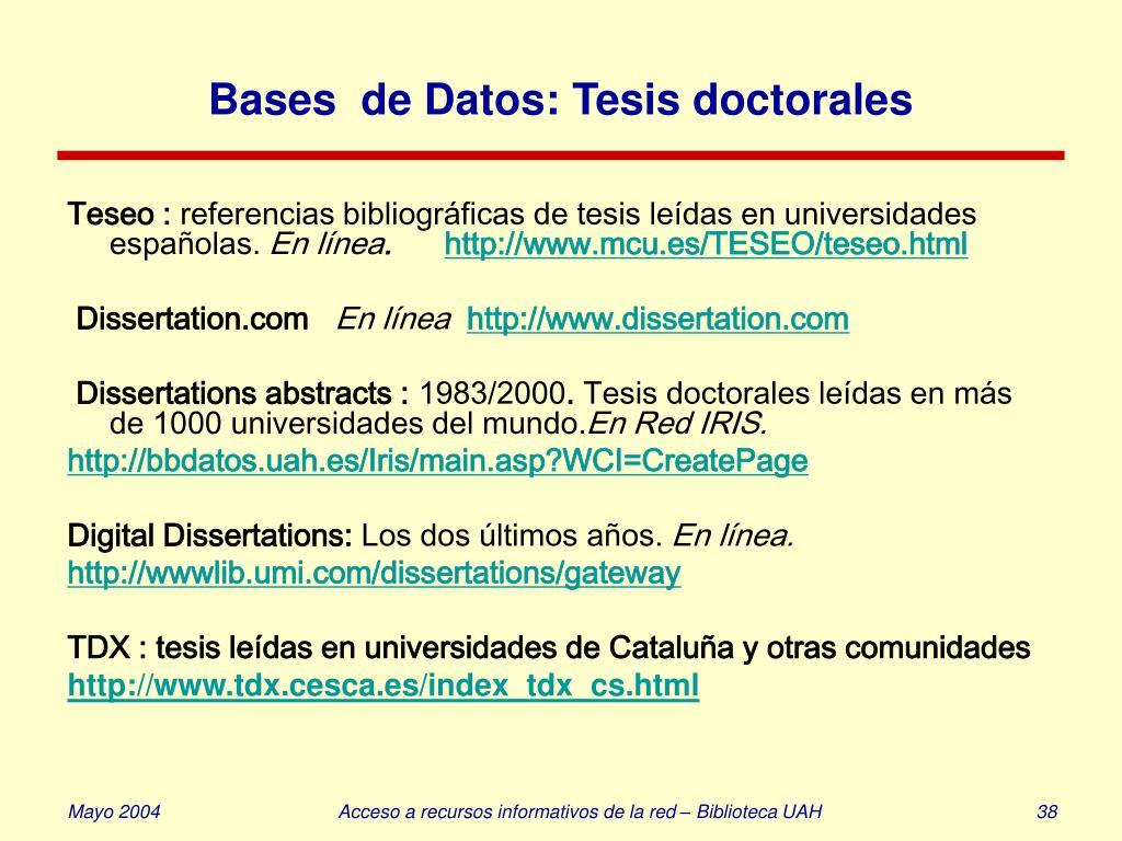 Bases  de Datos: Tesis doctorales