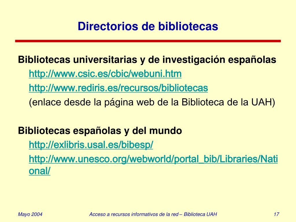 Directorios de bibliotecas