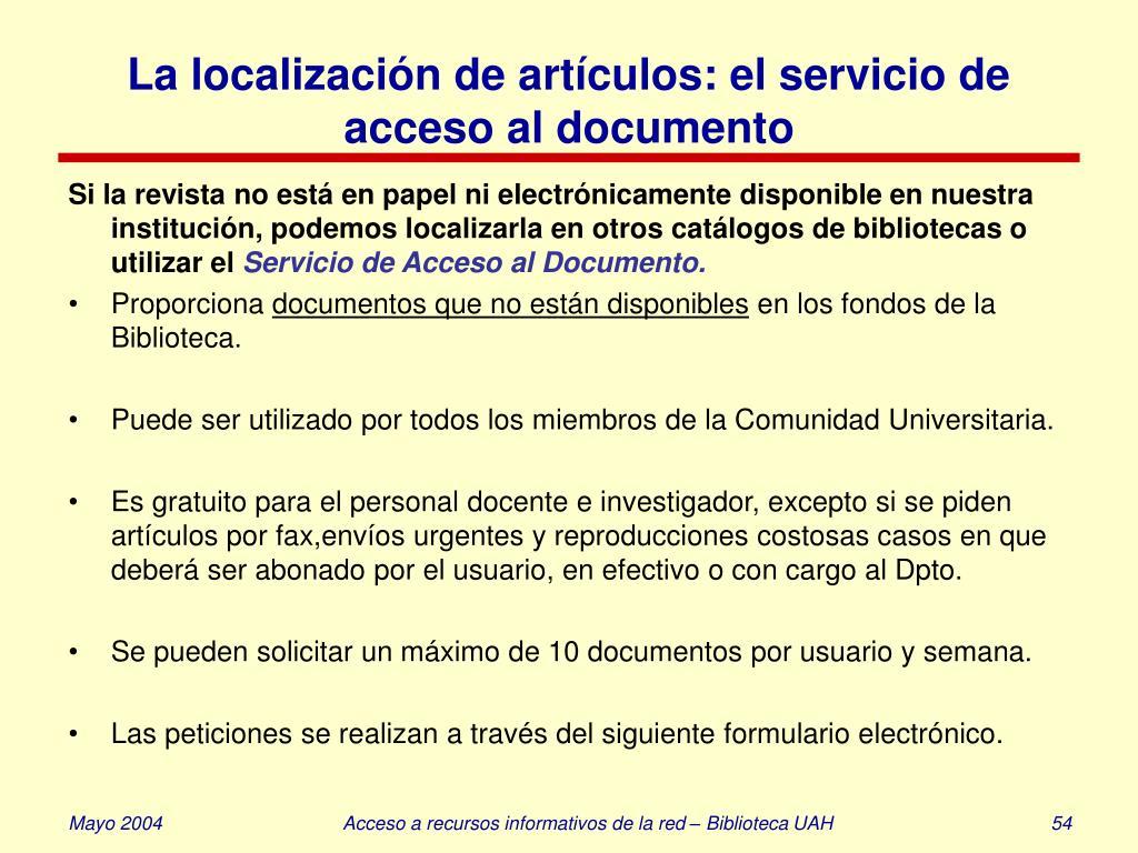 La localización de artículos: el servicio de acceso al documento