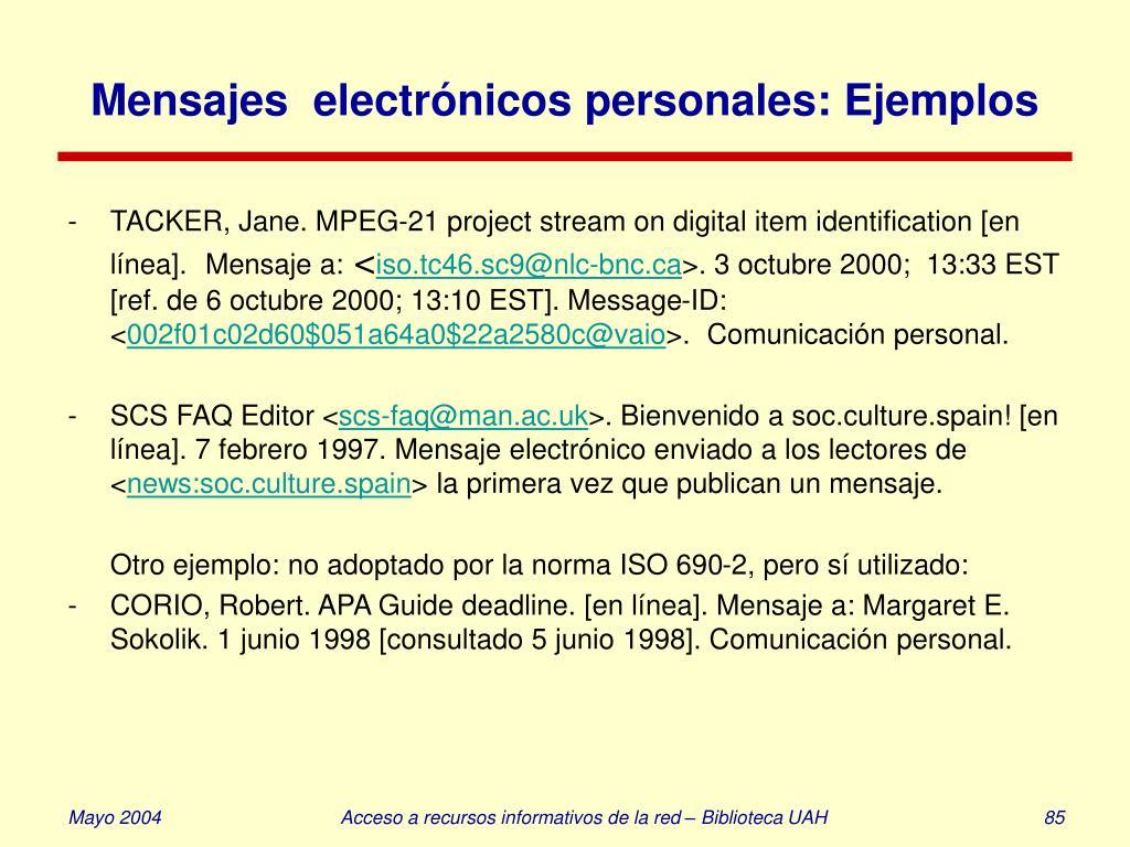 Mensajes  electrónicos personales: Ejemplos