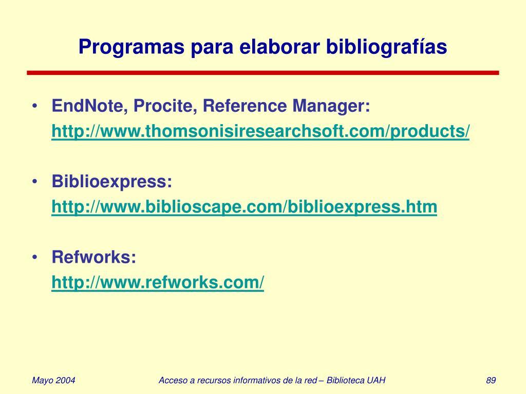 Programas para elaborar bibliografías