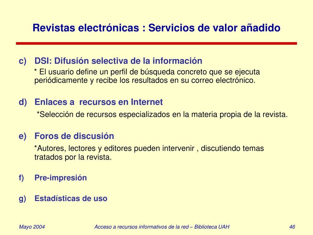 Revistas electrónicas : Servicios de valor añadido