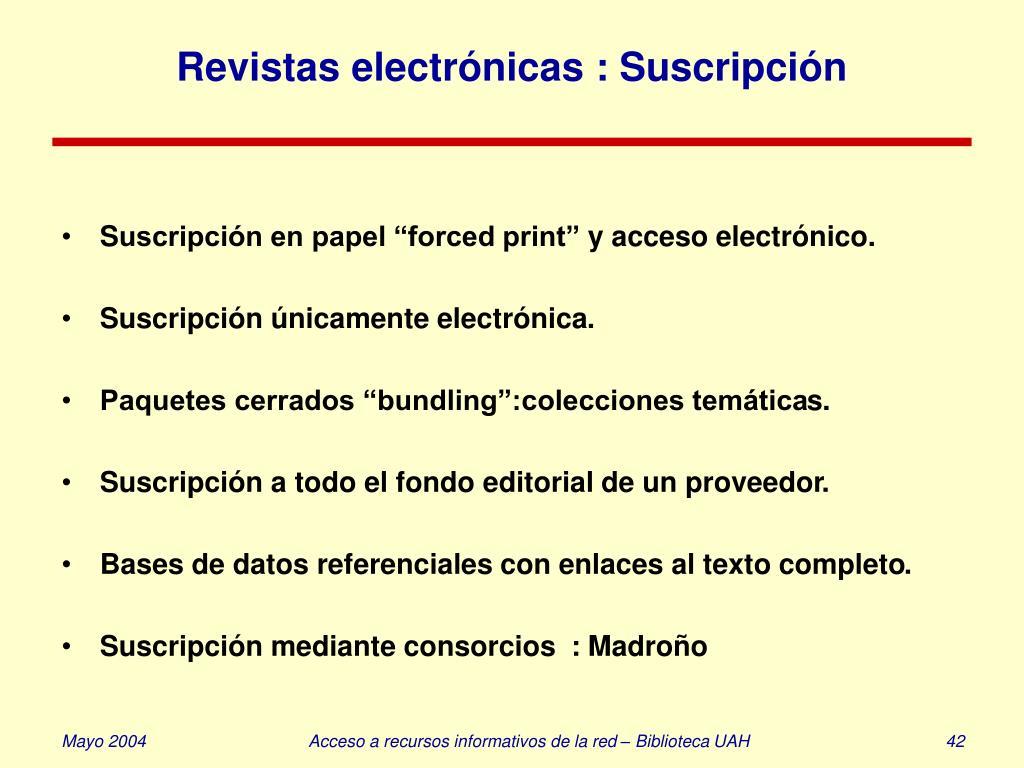 Revistas electrónicas : Suscripción
