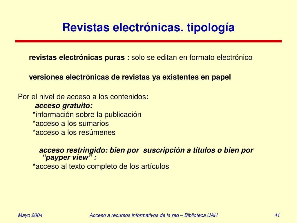 Revistas electrónicas. tipología