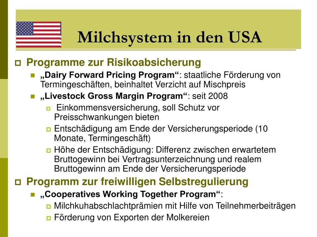 Milchsystem in den USA
