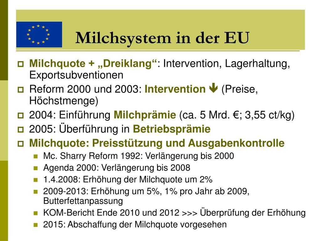 Milchsystem in der EU