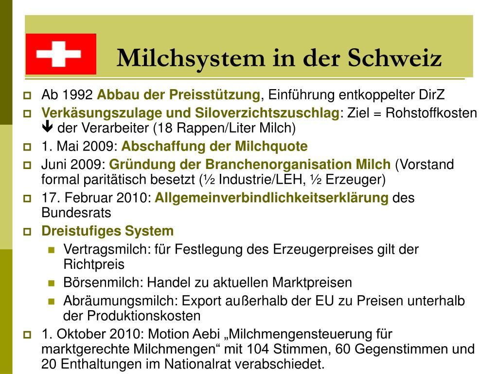 Milchsystem in der Schweiz