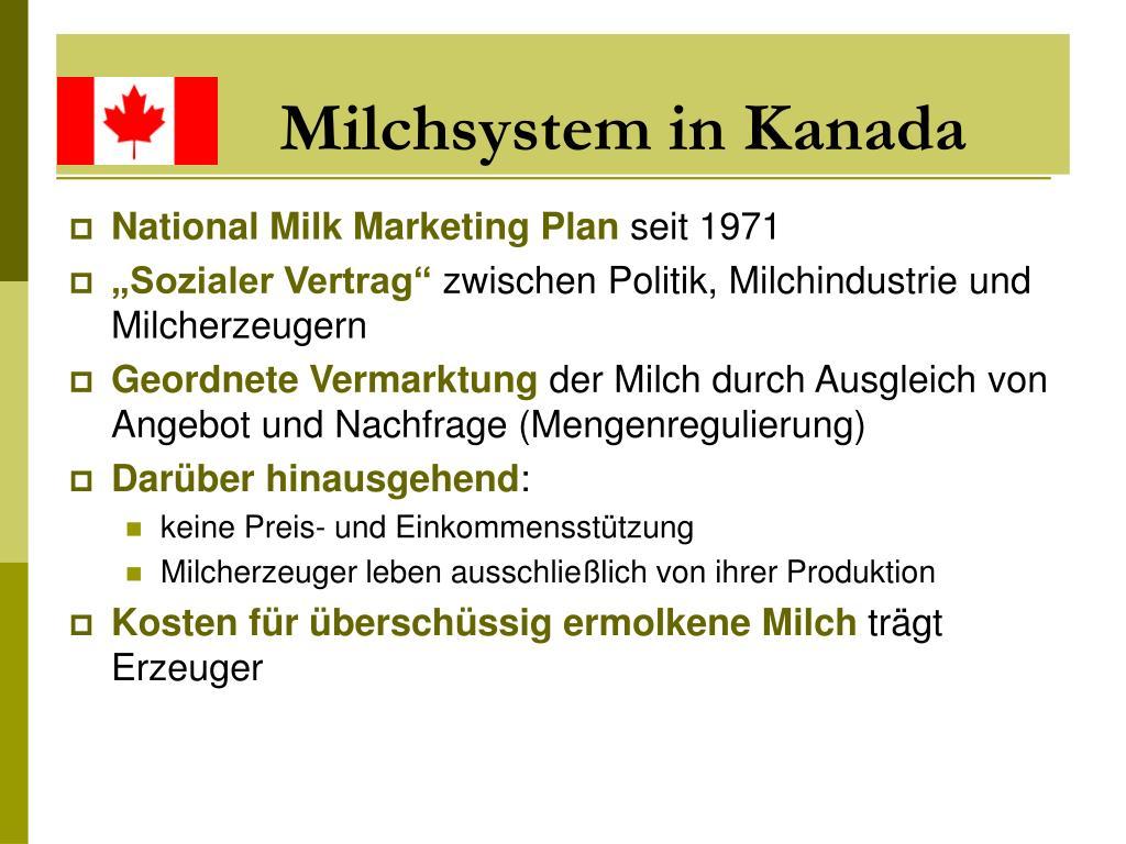 Milchsystem in Kanada