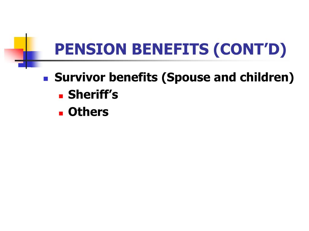 PENSION BENEFITS (CONT'D)