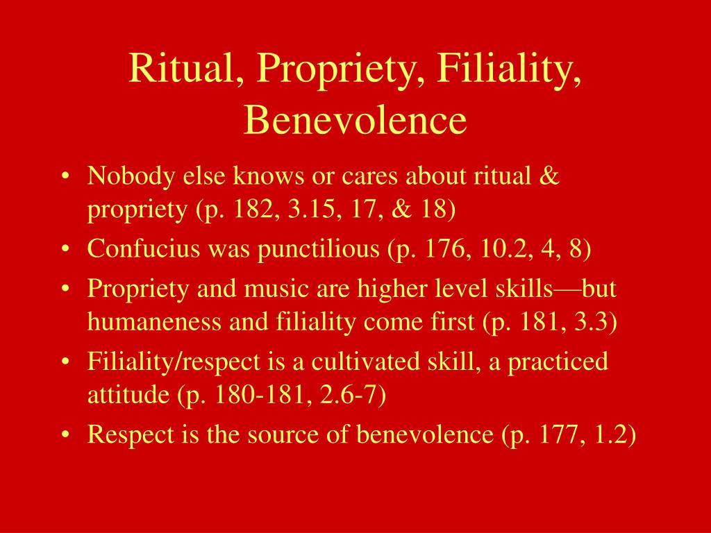 Ritual, Propriety, Filiality, Benevolence