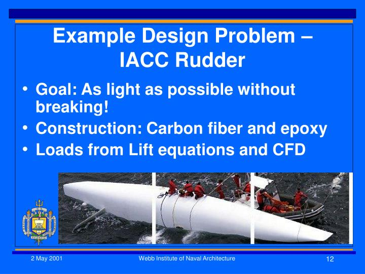 Example Design Problem – IACC Rudder