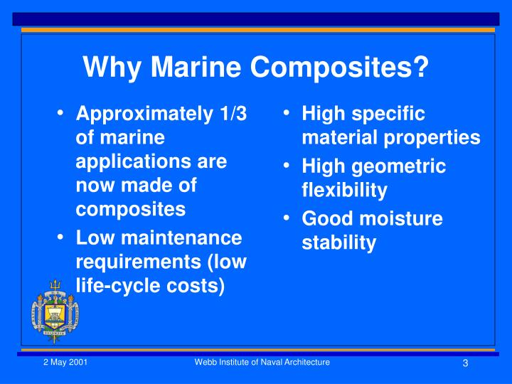Approximately 1/3 of marine applications are now made of composites