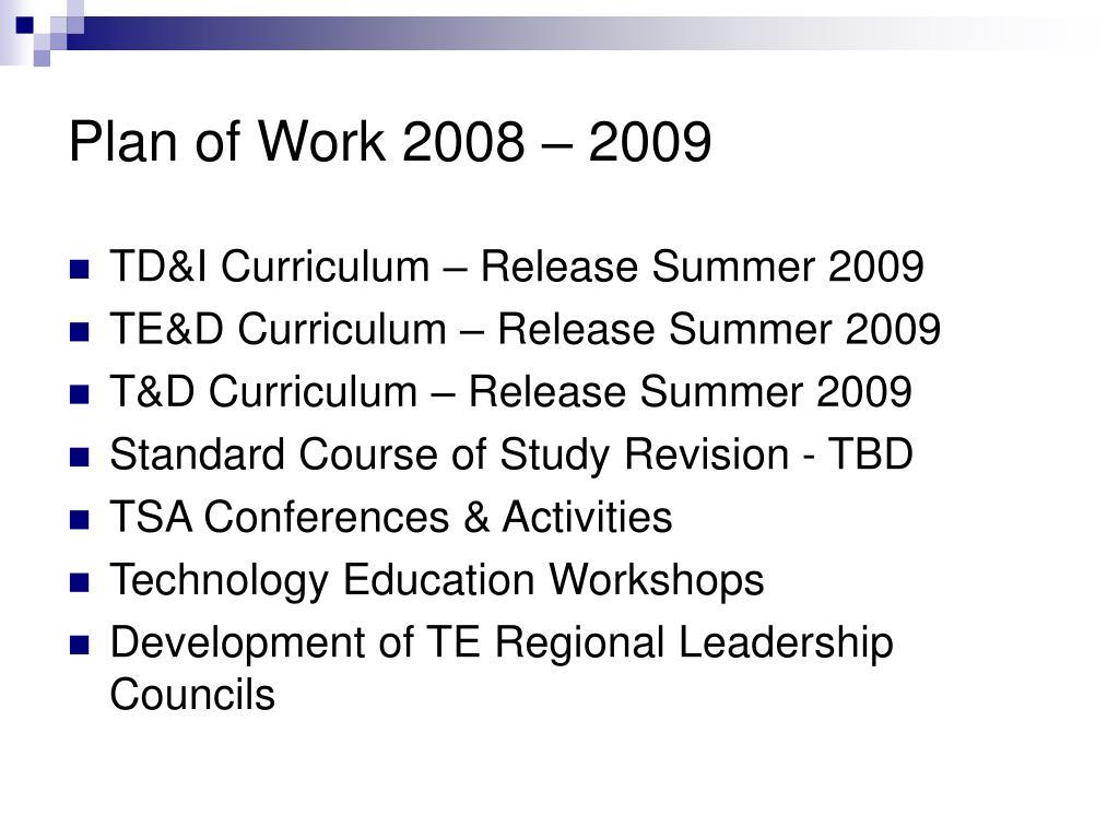 Plan of Work 2008 – 2009