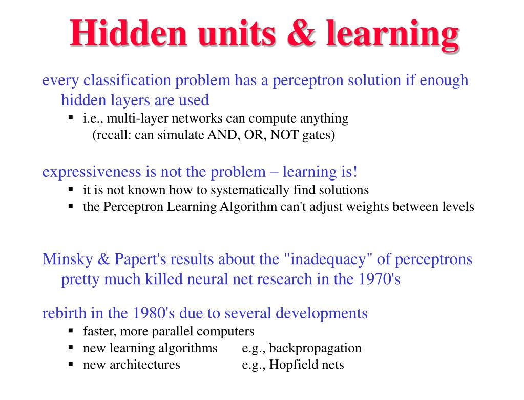 Hidden units & learning