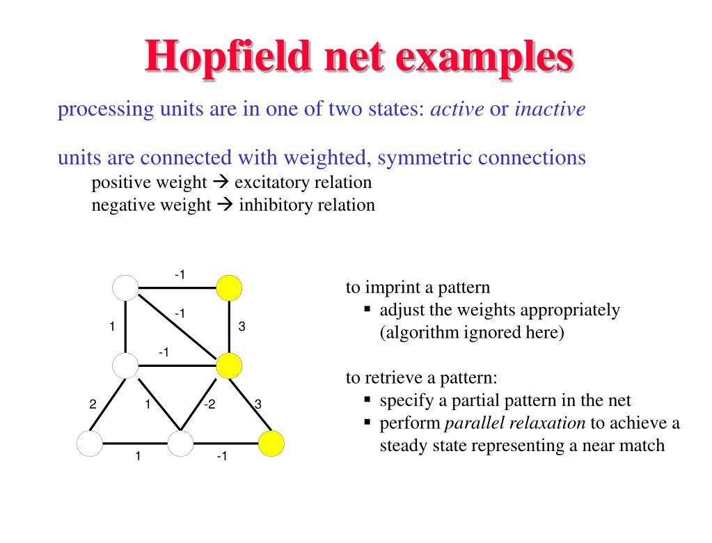 Hopfield net examples