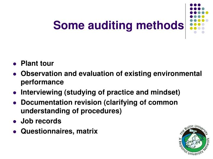 Some auditing methods