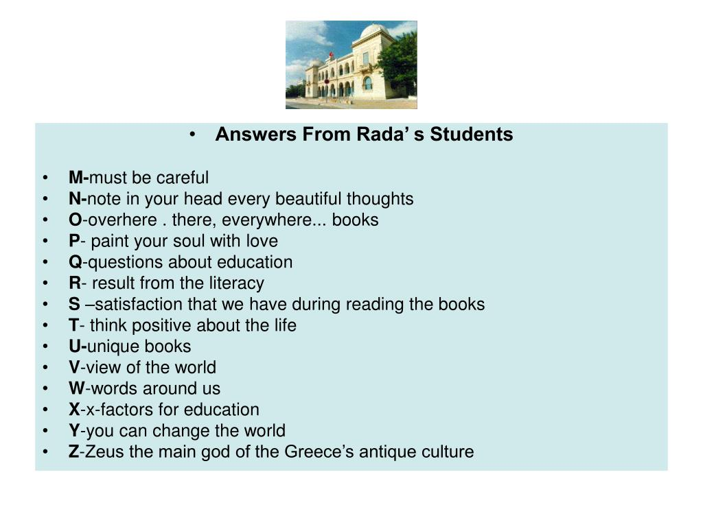 Answers From Rada' s Students
