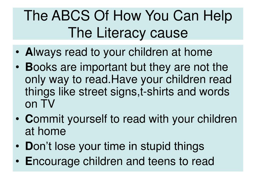 The ABCS Of How You Can Help The Literacy cause