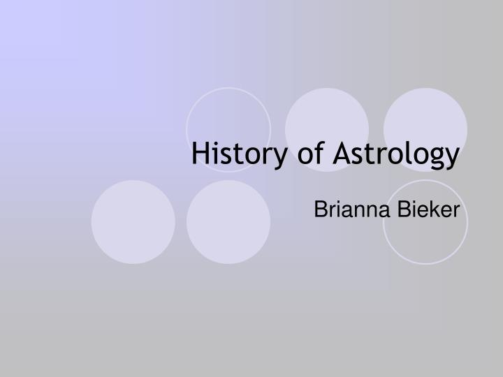 History of Astrology