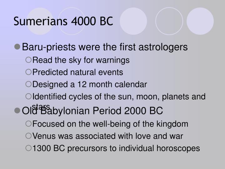 Sumerians 4000 BC