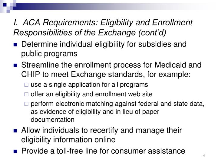 I.  ACA Requirements: Eligibility and Enrollment Responsibilities of the Exchange (cont'd)