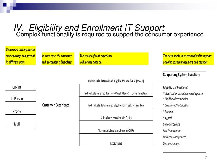 IV.  Eligibility and Enrollment IT Support
