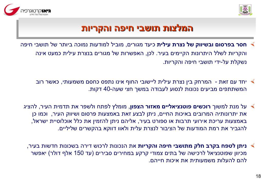 המלצות תושבי חיפה והקריות
