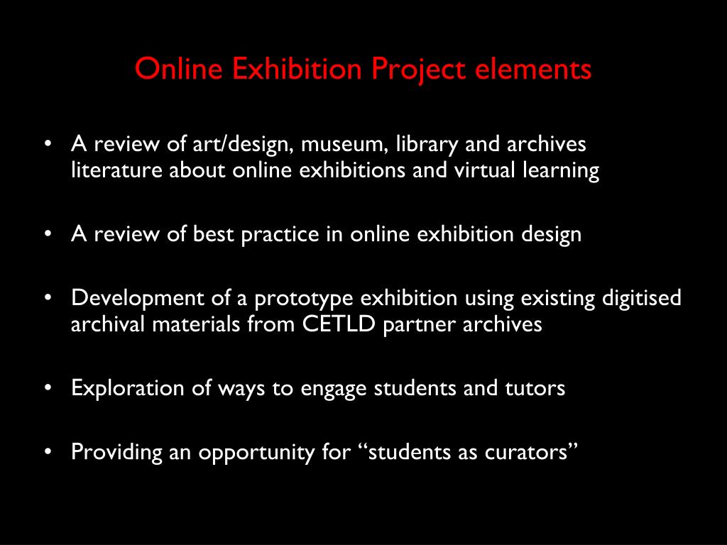 Online Exhibition Project elements