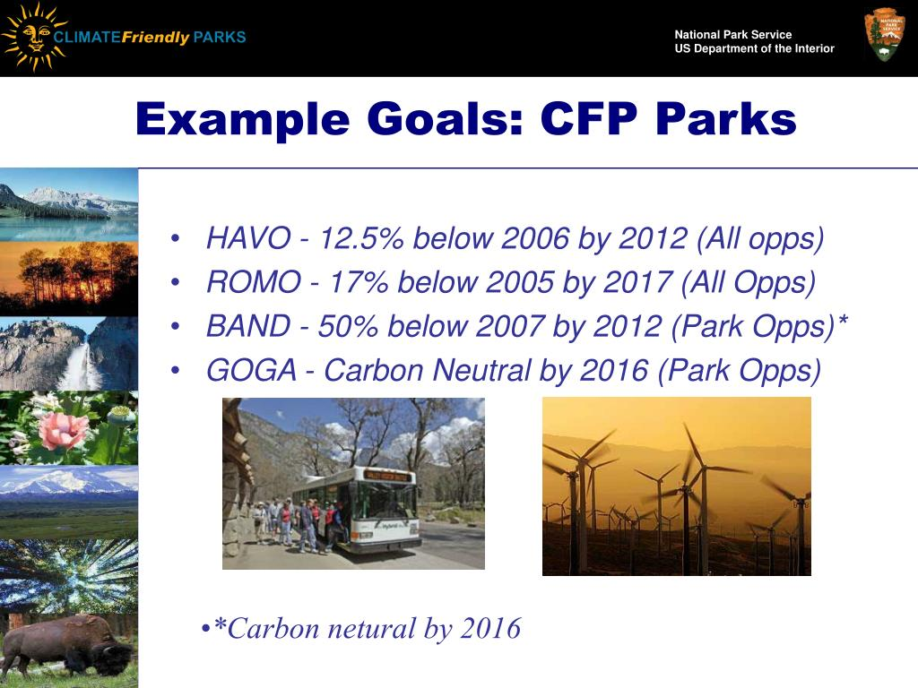 Example Goals: CFP Parks