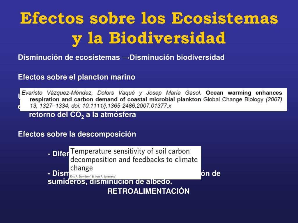 Efectos sobre los Ecosistemas y la Biodiversidad