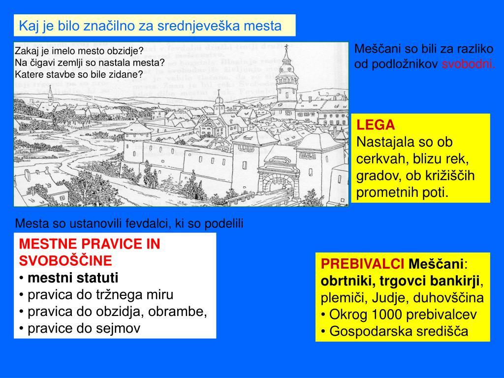 Kaj je bilo značilno za srednjeveška mesta