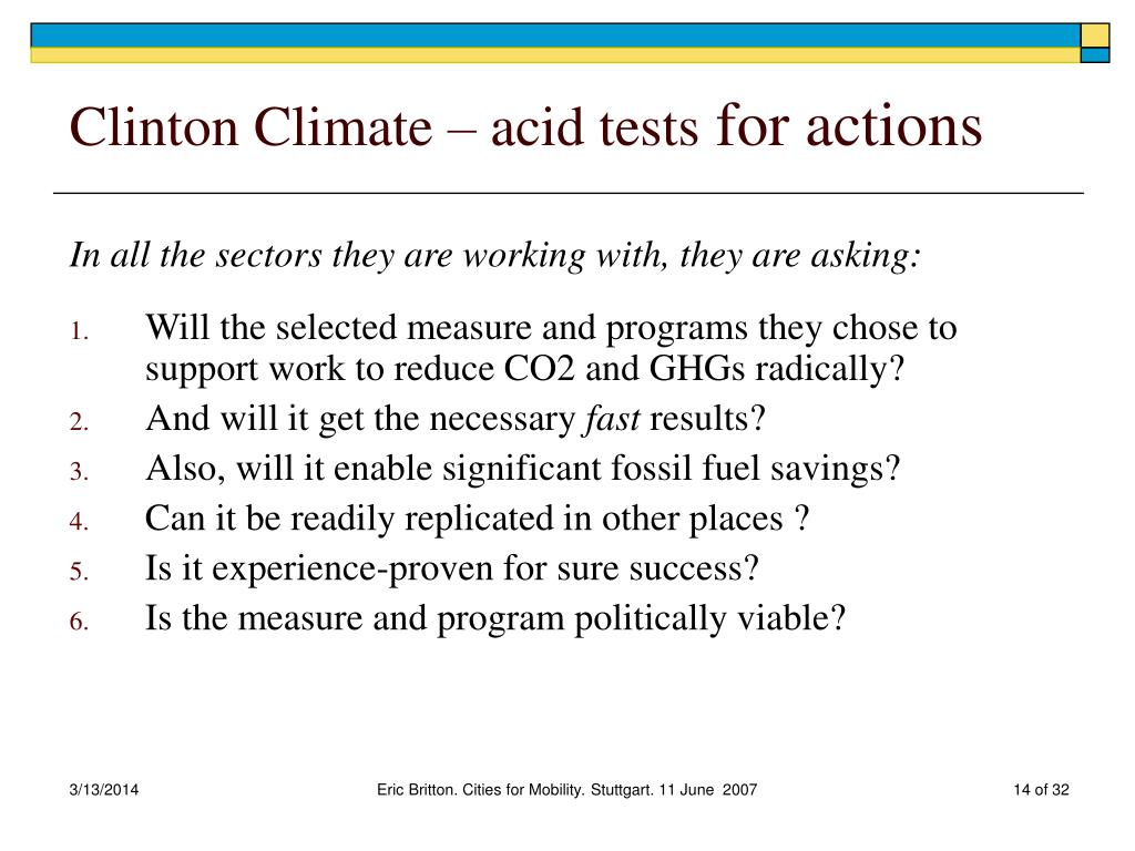 Clinton Climate – acid tests