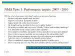 nma tests 1 performance targets 2007 2010
