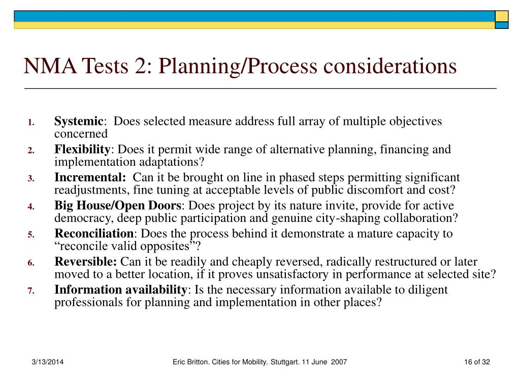 NMA Tests 2: Planning/Process considerations