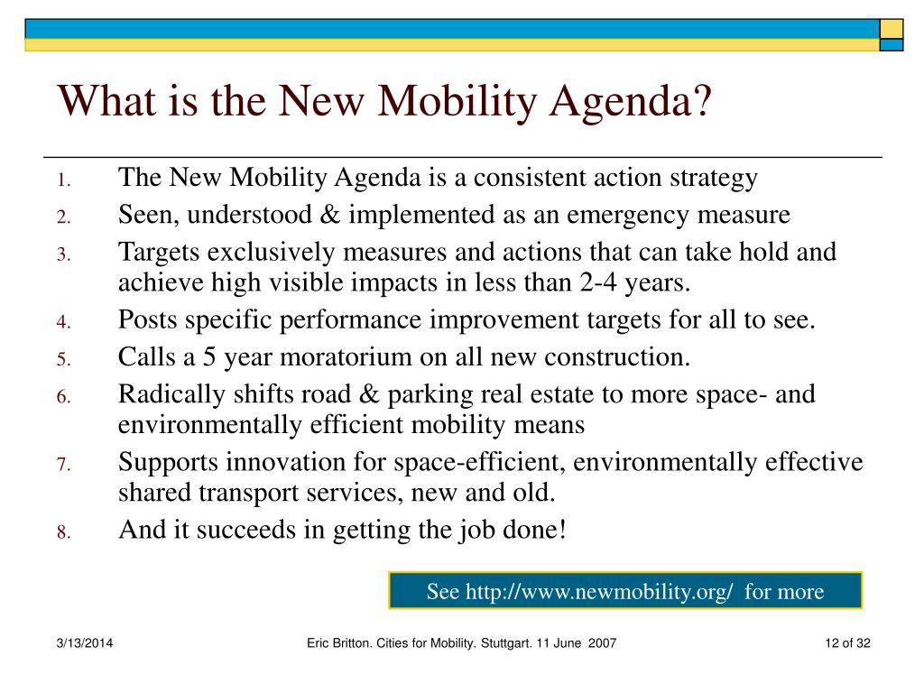What is the New Mobility Agenda?