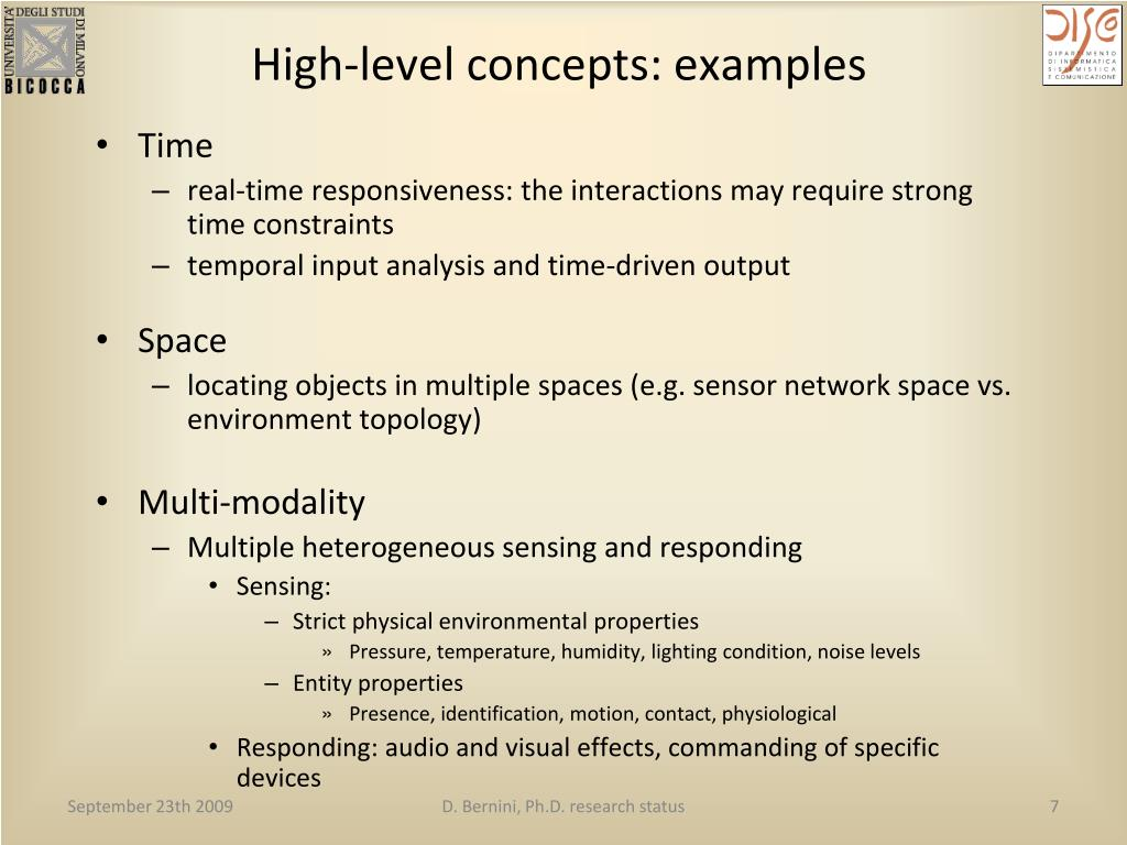 High-level concepts: examples