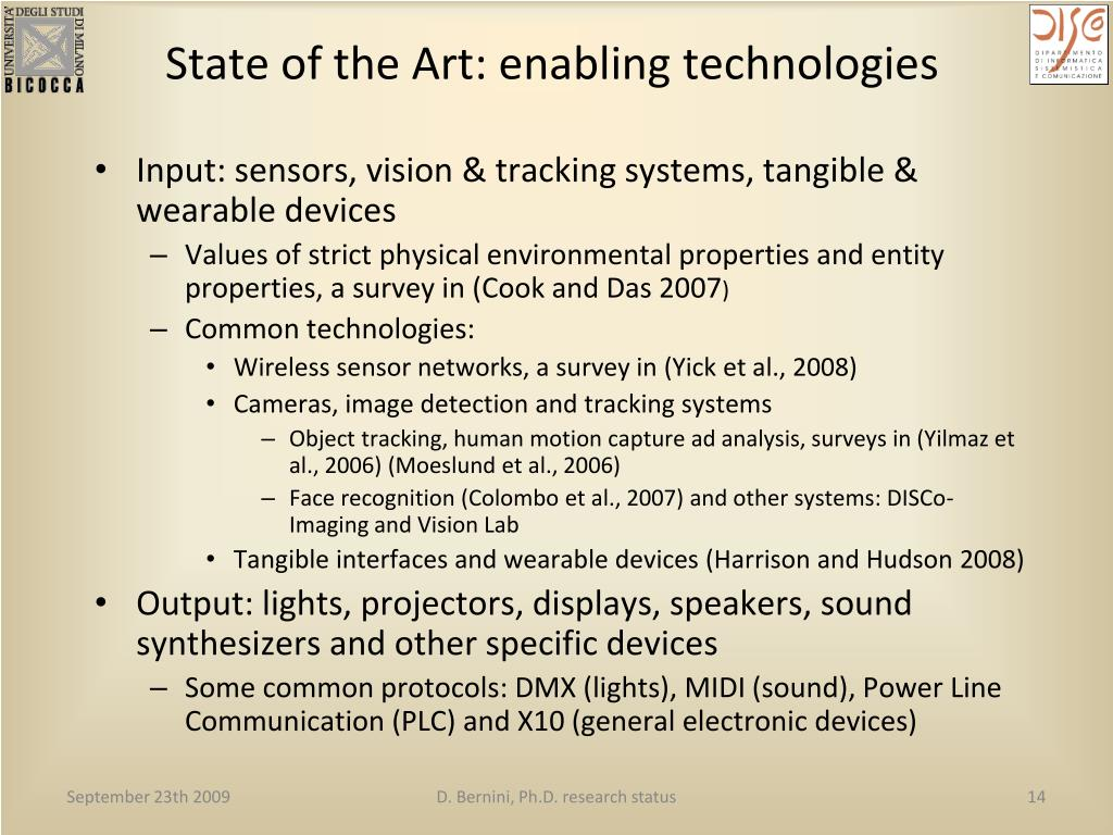 State of the Art: enabling technologies