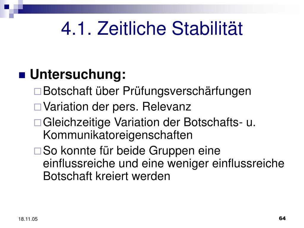 4.1. Zeitliche Stabilität