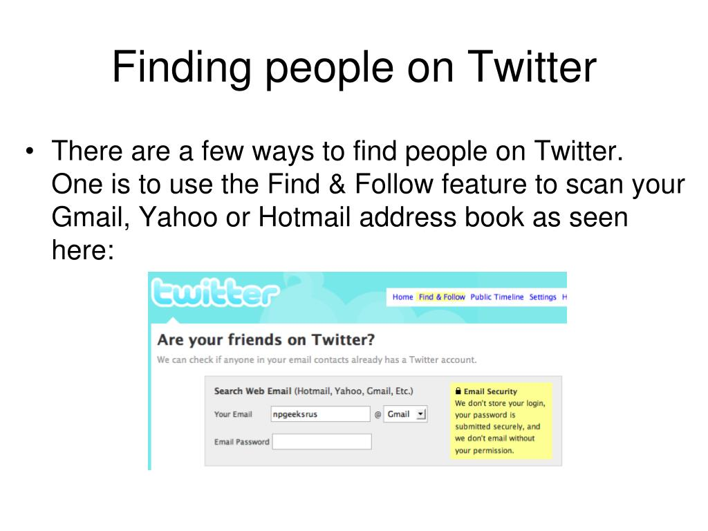Finding people on Twitter