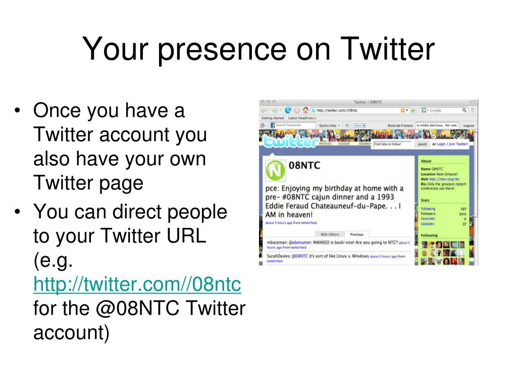 Your presence on Twitter