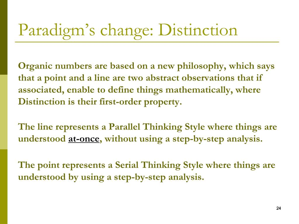 Paradigm's change: Distinction