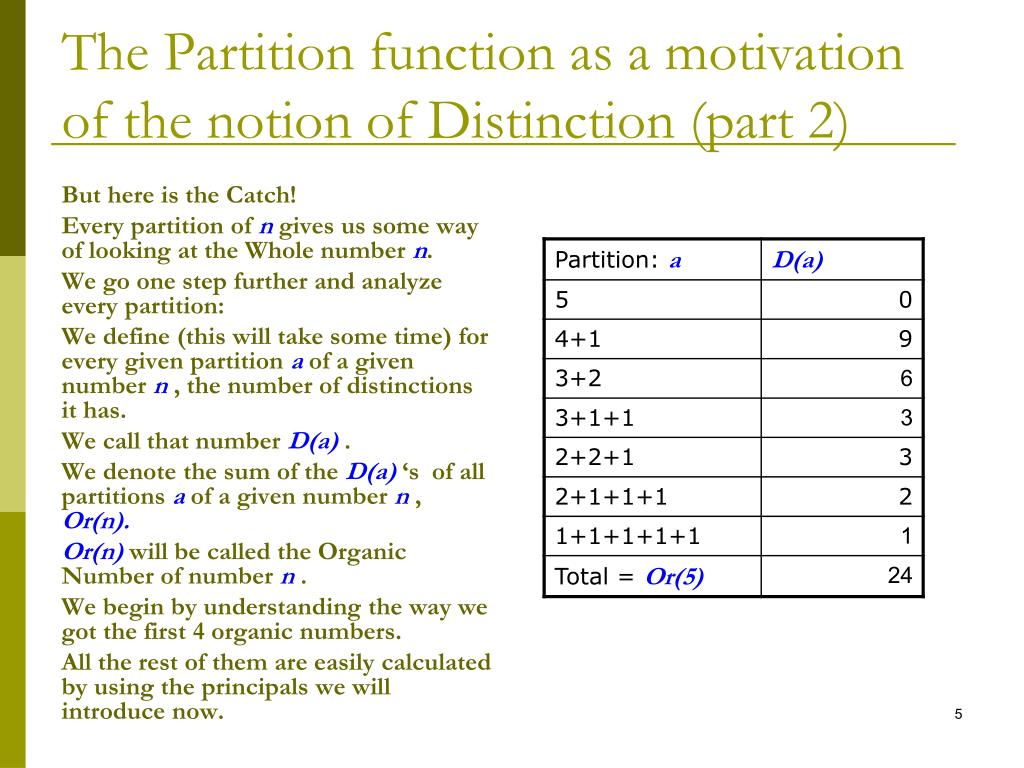 The Partition function as a motivation of the notion of Distinction (part 2)