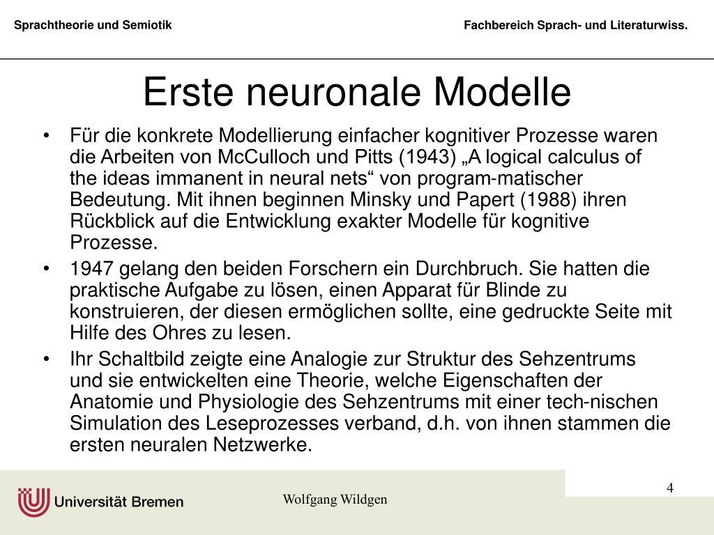 Erste neuronale Modelle