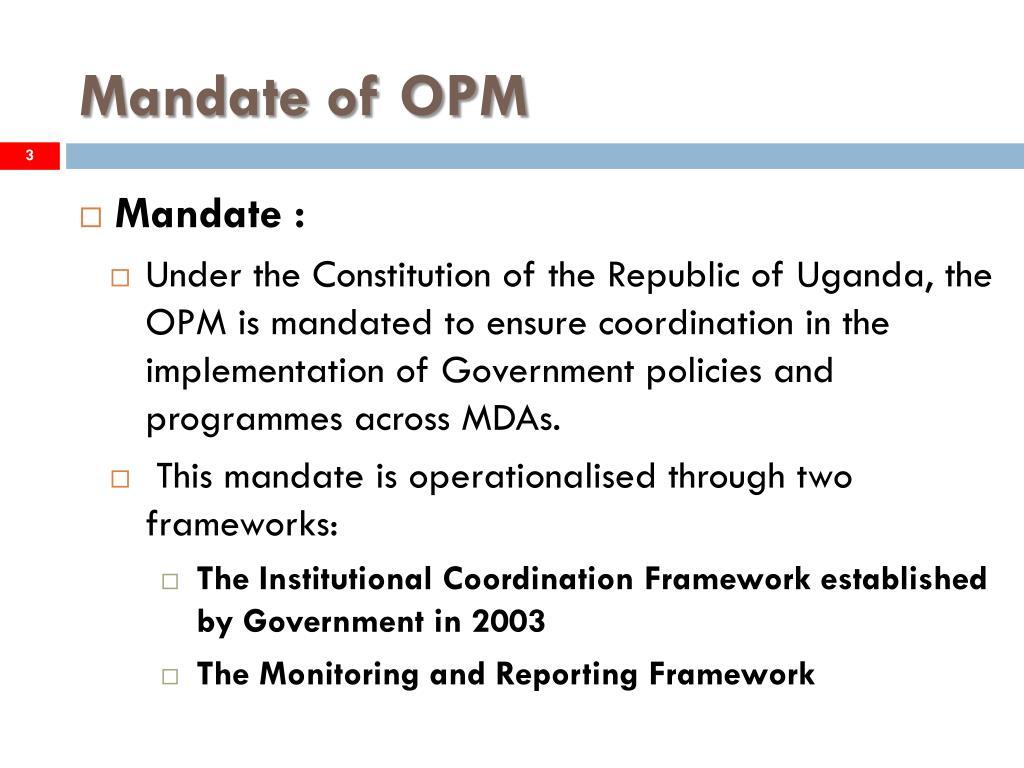 Mandate of OPM