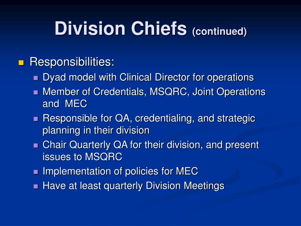 Division Chiefs